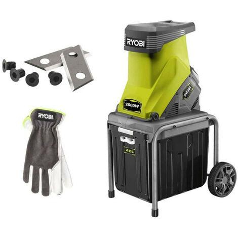 Pack RYOBI Broyeur de végétaux 2500W RSH2545B - Jeu de 2 lames pour broyeurs de végétaux RAC351 - Gants de jardinage Cuir Taille M RAC810M