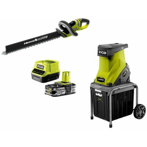 Pack RYOBI Broyeur de végétaux 2500W RSH2545B - Taille-haies 18V OnePlus OHT1855R - 1 batterie 2,5Ah - 1 chargeur rapide 2.0Ah