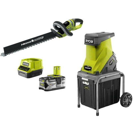 Pack RYOBI Broyeur de végétaux 2500W RSH2545B - Taille-haies 18V OnePlus OHT1855R - 1 batterie 4.0Ah - 1 chargeur rapide 2.0Ah