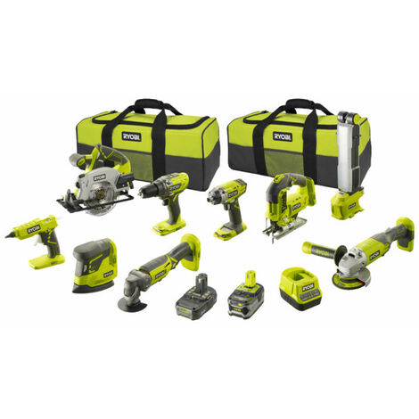 Pack RYOBI Combo 9 outils - 2 batteries 5.0Ah et 2.0Ah - 1 chargeur - R18CK9-252S