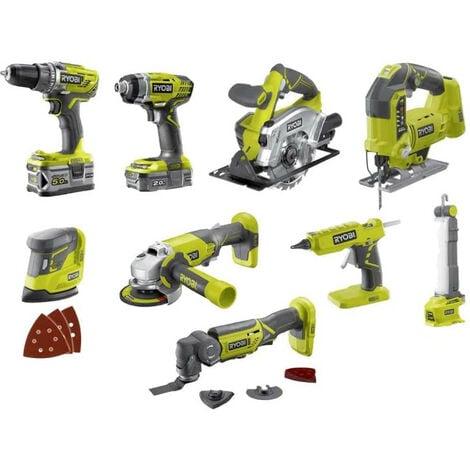 Pack RYOBI Combo 9 outils - 2 batteries 5.0Ah et 2.0Ah - 1 chargeur - R18CK9-252S