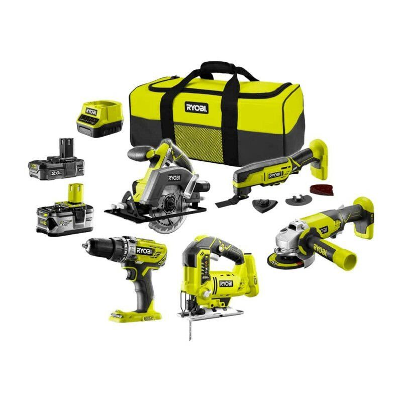 Pack RYOBI complet 5 outils 2 batteries 2.0Ah et 4.0Ah 1 chargeur R18CK5A 242S