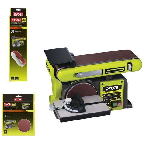 Pack RYOBI Correa y lijadora de disco fija 370W RBDS46016 - 5 cintas abrasivas BSS100A5 - 10 discos diamantados SD150A10