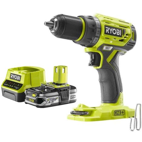 Pack RYOBI Drill 18V One Plus Brushless R18DD7-0 - 1 Battery 2.5Ah - 1 Quick Charger RC18120-125