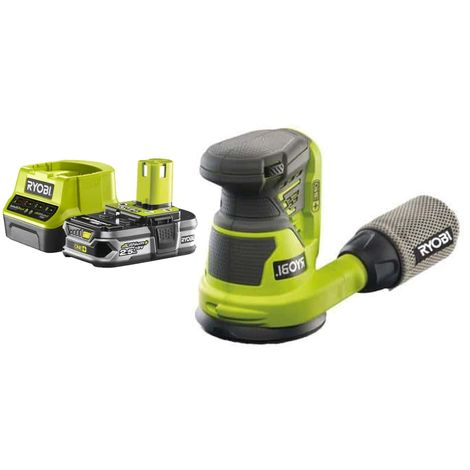 Pack RYOBI Eccentric Sander 18V OnePlus R18ROS-0 - 1 Battery 2.5Ah - 1 Quick Charger RC18120-125