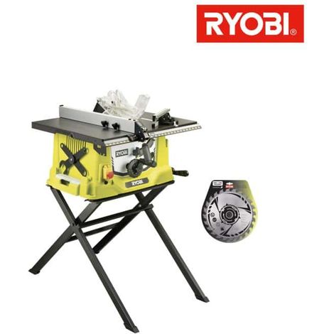 Pack Ryobi elektrische Tischsäge 1800W 254mm einziehbarer Sockel RTS1800S - Hartmetallblatt für Sägen 254mm 24 Zähne