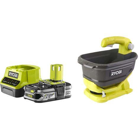 Pack RYOBI Hand Spreader 18V OnePlus OSS1800 - 1 Battery 2.5Ah - 1 Rapid Charger RC18120-125