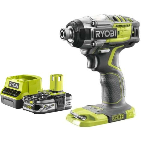 Pack RYOBI Impact Driver 18V OnePlus Brushless - 1 Battery 2.5Ah - 1 Quick Charger RC18120-125
