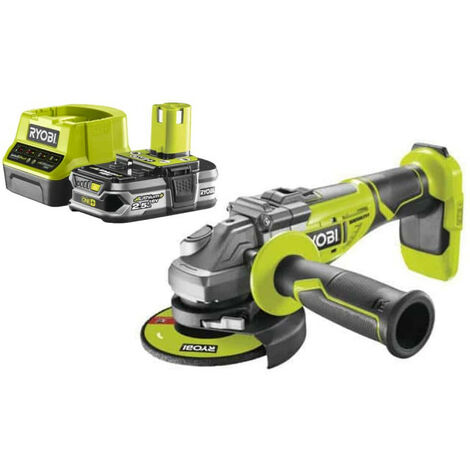 Pack RYOBI Meuleuse d'angle brushless 18V OnePlus R18AG7-0 - 1 Batterie 2.5Ah - 1 Chargeur rapide RC18120-125