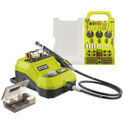 Pack RYOBI Mini-outil multifonction 18V - 33 accessoires R18RT-0 - Kit de 115 accessoires - RAKRT155