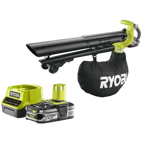 Pack RYOBI OnePlus Brushless OBV18 18V Vacuum Blower and Grinder - 1 Battery 2.5Ah - 1 Rapid Charger RC18120-125