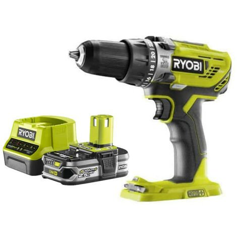 Pack RYOBI Perceuse à percussion 18V OnePlus R18PD3-0 - 1 Batterie 2.5Ah - 1 Chargeur rapide RC18120-125