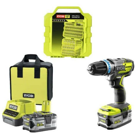 Pack RYOBI perceuse-visseuse à percussion Brushless - 1 batteries 5.0Ah- 1 batterie 2.0Ah - 1 chargeur 2.0Ah R18PDBL-252S - 127 accessoires de vissage RAK127DDSD