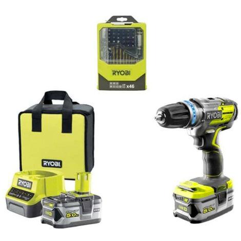 Pack RYOBI perceusse visseuse à percussion Brushless - 1 batteries 5.0Ah - 1 batterie 2.0Ah - 1 chargeur 2.0Ah R18PDBL-252S - Coffret 46 accessoires mixtes RAK46MIX