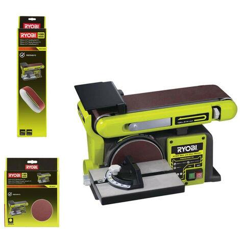 Pack RYOBI Ponceuse à bande et à disque stationnaire 370W RBDS46016 - 5 bandes abrasives BSS100A5 - 10 disques diamant SD150A10