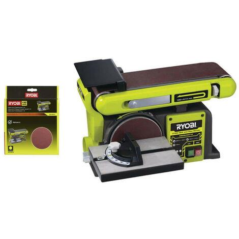 Pack RYOBI Ponceuse à bande et à disque stationnaire 370W RBDS4601G - 10 disques diamant auto agrippants 150mm SD150A10