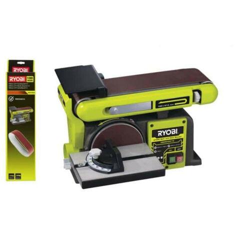 Pack RYOBI Ponceuse à bande et à disque stationnaire 370W RBDS4601G - 5 bandes abrasives 100 x 914mm grain 80 BSS100A5