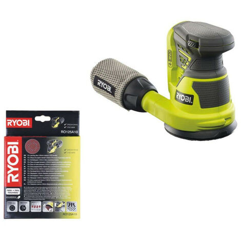 Pack RYOBI ponçeuse excentrique 18V OnePlus R18ROS-0 - 10 feuilles abrasives diamètre 125mm RO125A10