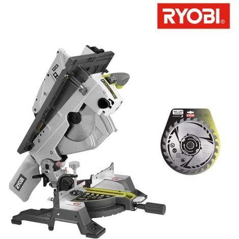 Pack RYOBI sierra de mesa e ingletadora eléctrica 1800W 254mm RTMS1800-G - hoja de carburo para sierras 254mm 24 diente