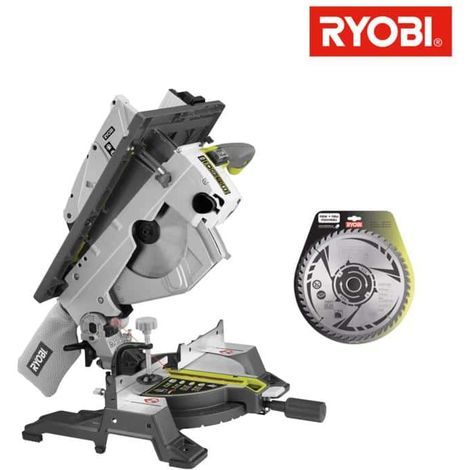Pack RYOBI sierra de mesa y sierra ingletadora eléctrica 1800W 254mm RTMS1800-G - hoja de carburo para sierras ingletad