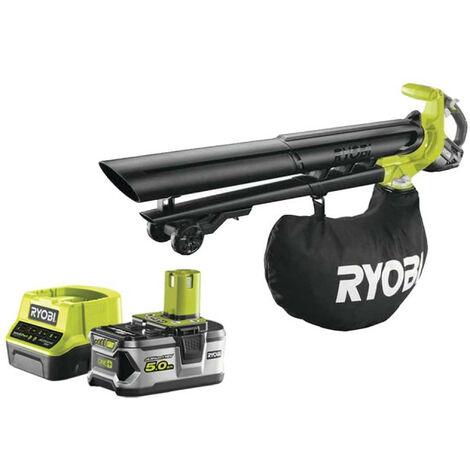 Pack RYOBI Souffleur aspiro-broyeur 18V OnePlus Brushless OBV18 - 1 batterie 5.0Ah - 1 chargeur rapide 2.0Ah RC18120-150