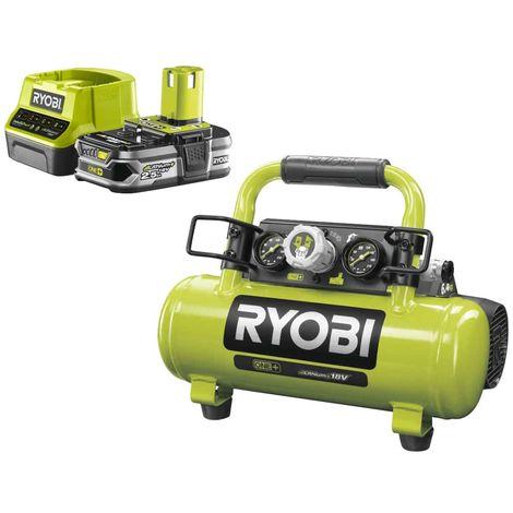 Pack RYOBI Tank Compressor 18V One Plus - 4L R18AC-0 - 1 Battery 2.5Ah - 1 Rapid Charger RC18120-125