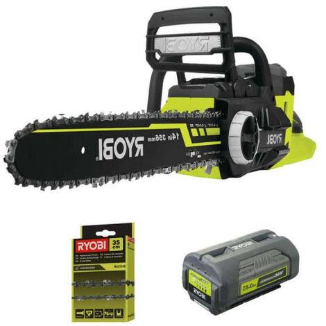 Pack RYOBI tronçonneuse 36V LithiumPlus - 1 batterie 5.0Ah - 1 chargeur moteur sans charbons RCS36X3550HI - Chaîne 35cm pour tronçonneuses RAC242