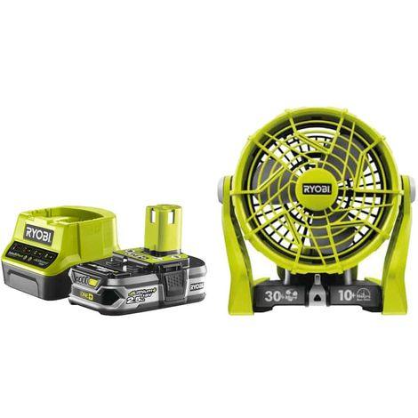 Pack RYOBI Ventilador 2 velocidades 18V OnePlus R18F-0 - 1 Batería 2.5Ah - 1 Cargador rápido RC18120-125