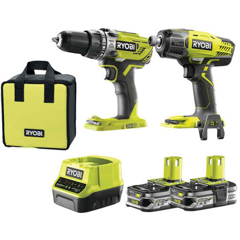 Pack RYOBI Visseuse à chocs Quiet Strike RYOBI 18V OnePlus R18QS-0 - Perceuse-visseuse à percussion 18V - 2 batteries lithium+ 2,5 Ah - 1 chargeur 2,0 Ah - R18PD31-225S
