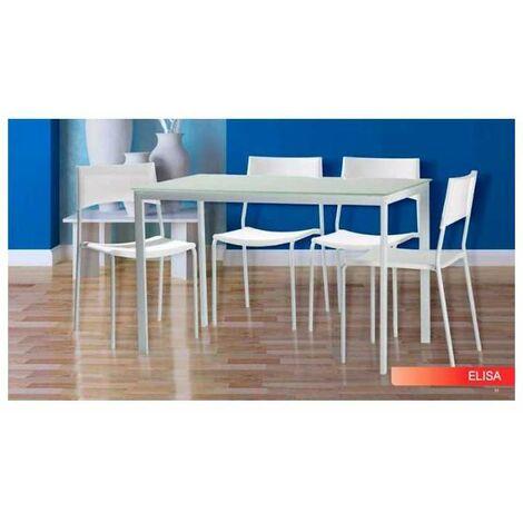 Pack salon Elisa mesa y 4 sillas en acabado color blanco Color Blanco