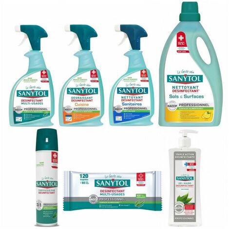 Pack SANYTOL 7 produits nettoyant désinfectant multi usages, sol senteur citron, air, mains, ...