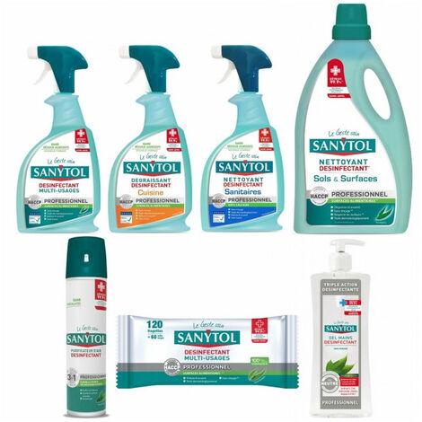 Pack SANYTOL 7 produits nettoyant désinfectant multi usages, sol senteur eucalyptus, air, mains, ...