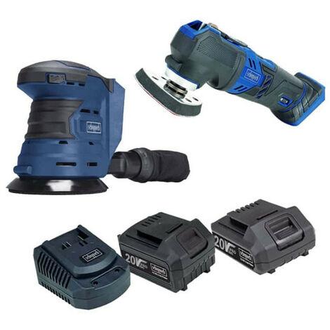 Pack SCHEPPACH Drahtloser Exzenterschleifer 20V - COS125-20ProS - 20V Drahtloses Multifunktionswerkzeug - CMT200-20ProS