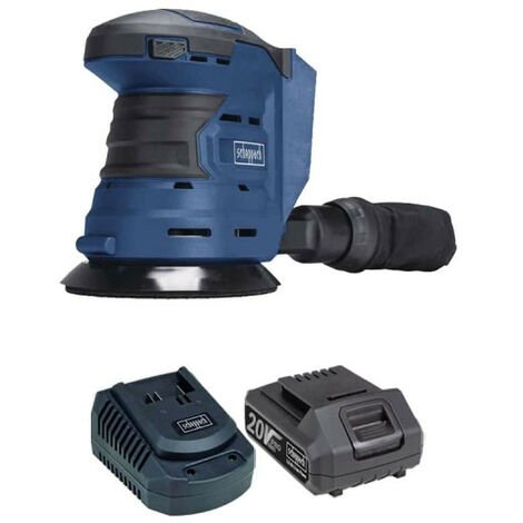 Pack SCHEPPACH Kabelloser Exzenterschleifer 20V COS125-20ProS - 1 Batterie 2,0Ah - 1 Schnell-Ladegerät