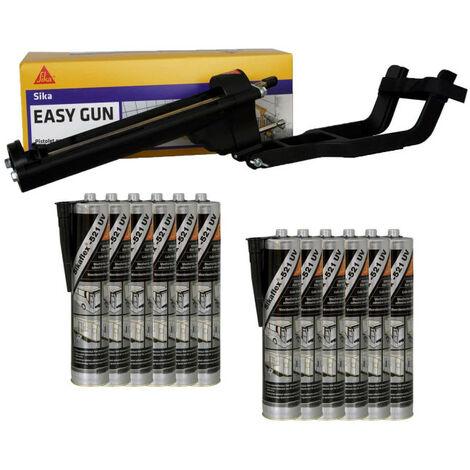 Pack SIKA EasyGun Putty Gun - 12 hybrid putty adhesives SIKA 521 UV - Black - 300ml