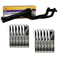 Pack SIKA EasyGun Sealant Gun - 12 hybrid sealant adhesives SIKA 521 UV - White - 300ml