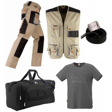Pack Smart beige/noir: pantalon + gilet multi-poches + ceinture + T-shirt vintage gris KAPRIOL - plusieurs modèles disponibles