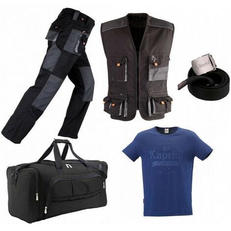 Pack Smart noir-gris: pantalon + gilet multi-poches + sac + ceinture + T-shirt vintage KAPRIOL - plusieurs modèles disponibles