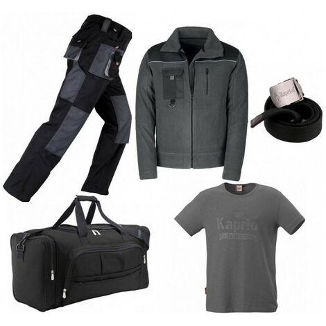 Pack Smart noir-gris: pantalon + polaire + sac + ceinture + T-shirt vintage KAPRIOL - plusieurs modèles disponibles