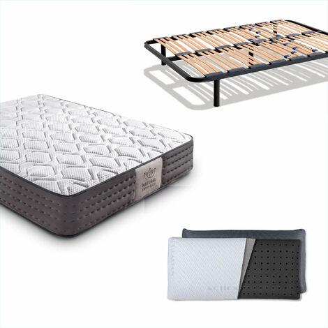 Pack Somier Multiláminas + Colchón Luxury Visco Tencel + Almohada Carbono 105 x 180 cm Sin patas