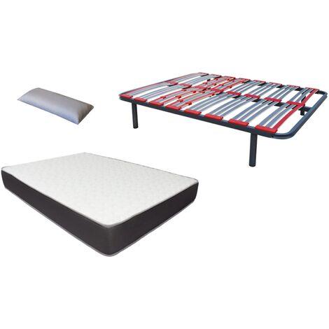Pack somier Multilaminas (patas incluidas)+colchon HR BASIC BLUE VISCO+ almohada DE REGALO 135X190
