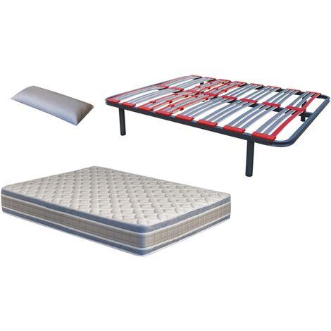 Pack somier Multilaminas (patas incluidas)+colchon NATUR VISCO+ almohada DE REGALO 135X190