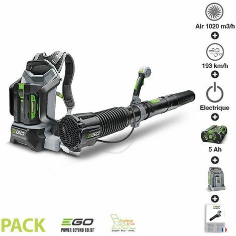 Pack souffleur professionnel 1020m3 heure batterie dorsale 5ah chargeur rapide Ego Power+ LB6002E