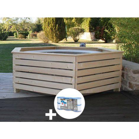 Pack spa gonflable Intex PureSpa Sahara rond Bulles 4 places + Habillage en bois AquaZendo + 6 filtres
