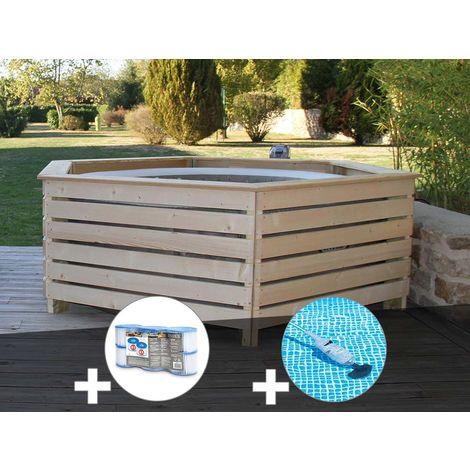 Pack spa gonflable Intex PureSpa Sahara rond Bulles 4 places + Habillage en bois AquaZendo + 6 filtres + Aspirateur