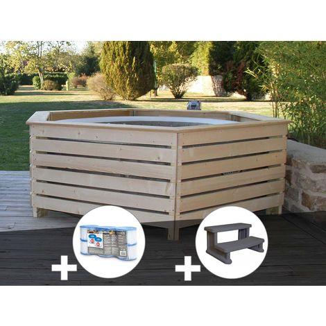 Pack spa gonflable Intex PureSpa Sahara rond Bulles 4 places + Habillage en bois AquaZendo + 6 filtres + Escalier