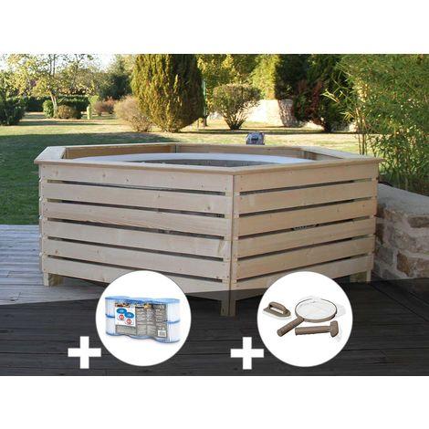 Pack spa gonflable Intex PureSpa Sahara rond Bulles 4 places + Habillage en bois AquaZendo + 6 filtres + Kit d'entretien