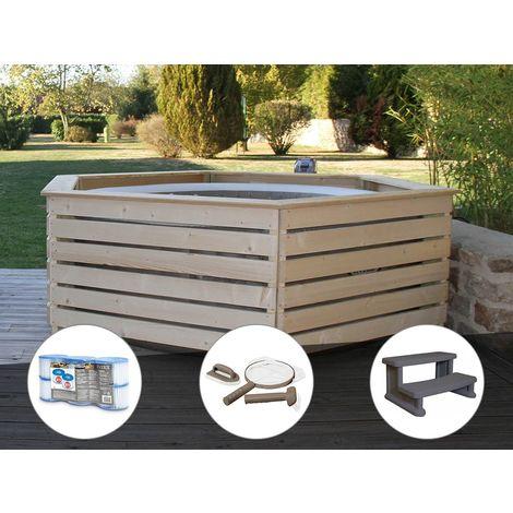 Pack spa gonflable Intex PureSpa Sahara rond Bulles 4 places + Habillage en bois AquaZendo + 6 filtres + Kit d'entretien + Escalier