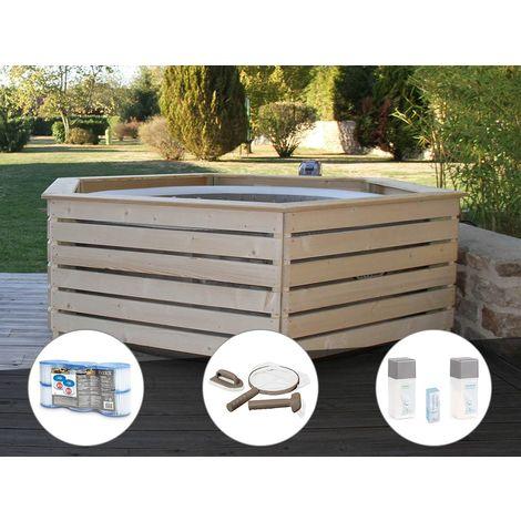 Pack spa gonflable Intex PureSpa Sahara rond Bulles 4 places + Habillage en bois AquaZendo + 6 filtres + Kit d'entretien + Kit traitement brome