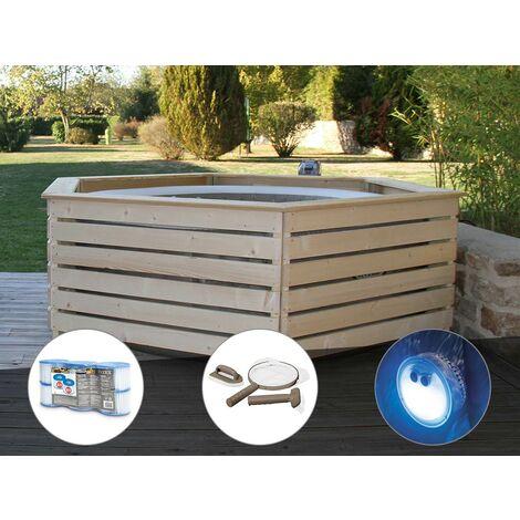 Pack spa gonflable Intex PureSpa Sahara rond Bulles 4 places + Habillage en bois AquaZendo + 6 filtres + Kit d'entretien + Projecteur LED